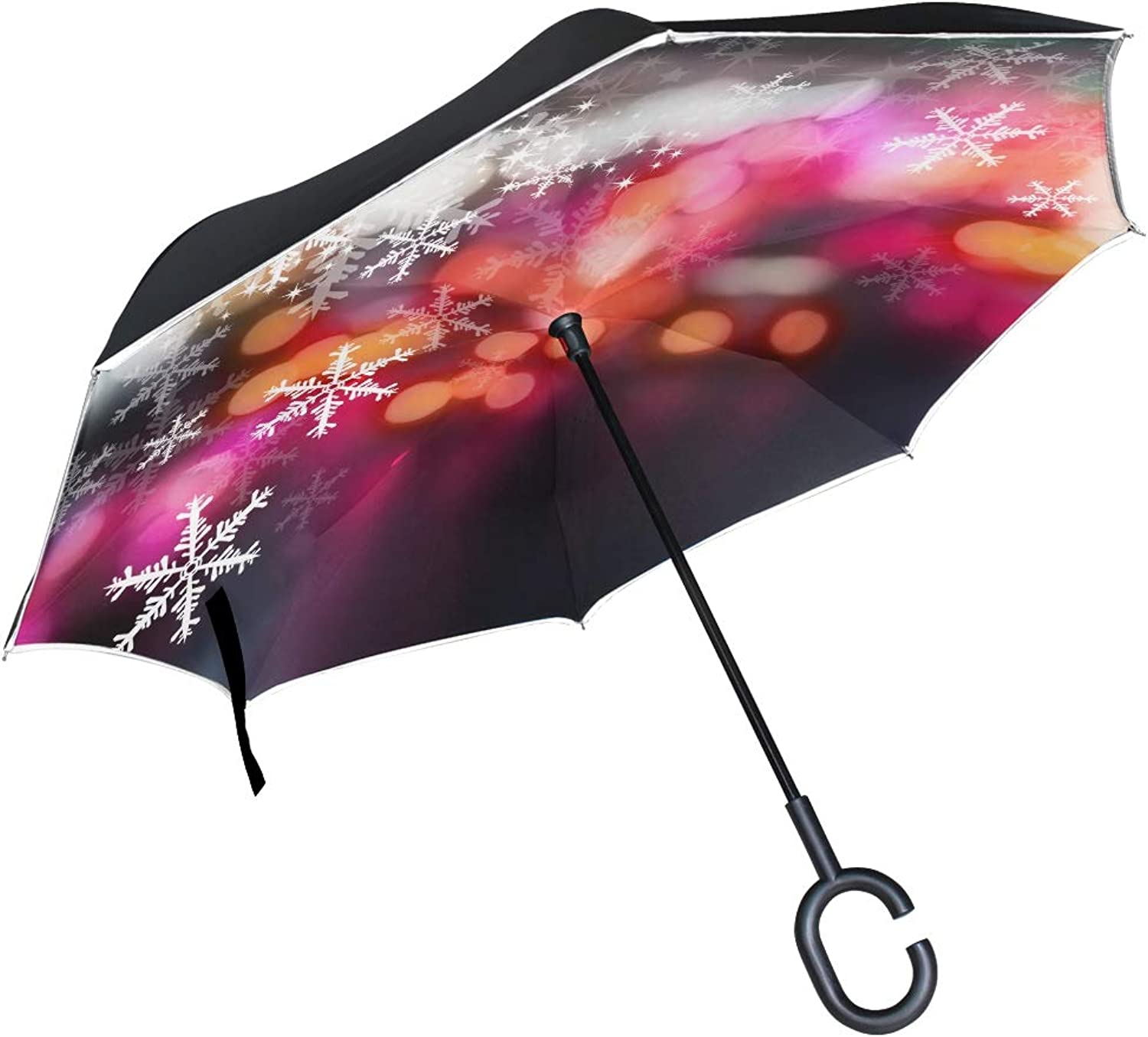 Double Layer Ingreened Christmas Design Snowflake On Bokeh Umbrellas Reverse Folding Umbrella Windproof Uv Predection Big Straight Umbrella for Car Rain Outdoor with CShaped Handle