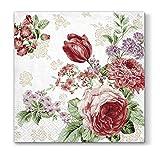 Servilletas de papel modelo Mysterious Roses, con tulipanes rosas, 3 capas, 20 unidades