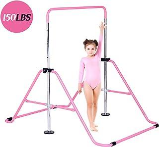 Dai&F Gymnastics Bars Kids Kip Training Bars for Home, Folding Horizontal Bars with Adjustable Height, Junior Training Bar for Child, Girls, Boys(Pink/Blue)
