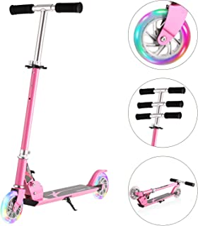 Hikole Scooter for Kids | Scooters Foldable Portable Adjustable Height Kick Scooter with 2 LED Light Up PU Flashing Wheels, Birthday Gifts for Toddlers Boys Girls Kids Age 4-12 Years Old