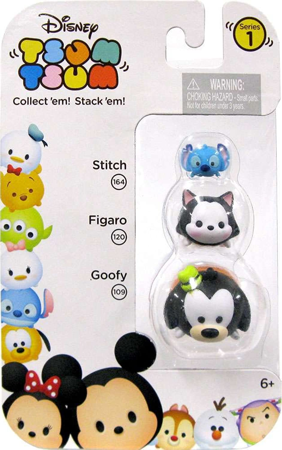Disney Tsum Tsum 3 Pack Figures 1 Stitch, and Goofy Series