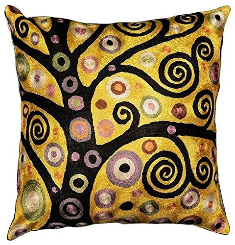 Buy Bargain Kashmir Designs Klimt Throw Pillow Soulful Tree of Life Silk Hand Embroidered 18 x 18