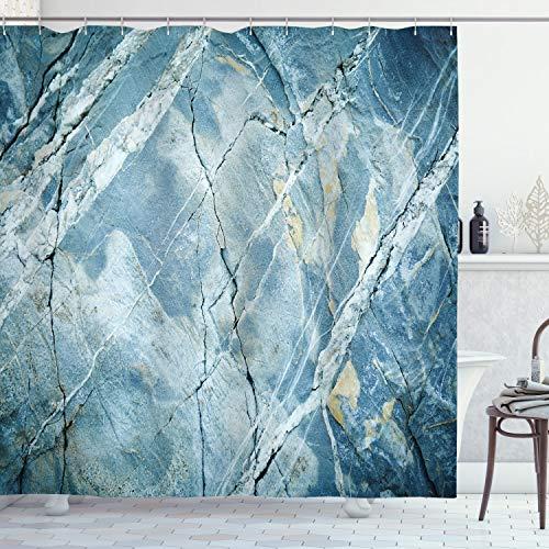 ABAKUHAUS Marmeren Douchegordijn, steen van het graniet, stoffen badkamerdecoratieset met haakjes, 175 x 200 cm, Pale Blue Gray