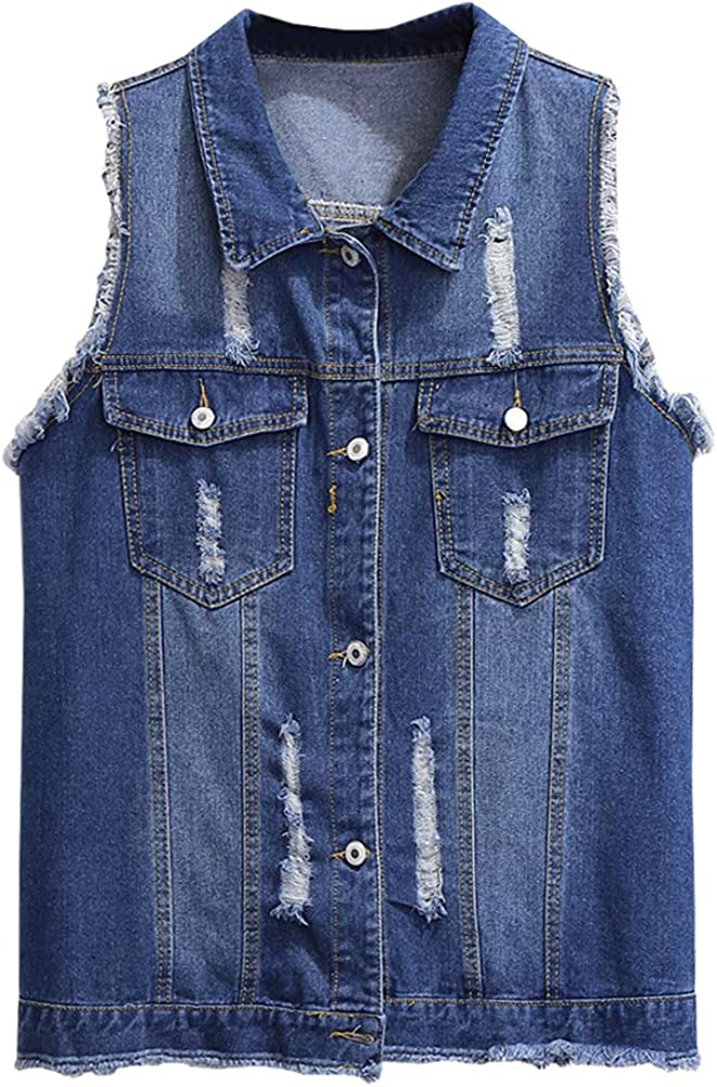 SCOFEEL Women's Ripped Denim Vest Button Downs Sleeveless Jacket Plus Size with Fringe