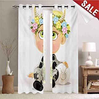 Zodiac Taurus Customized Curtains Happy Baby with Little Horns and Flowers Cow Bell and Costume Kids Cartoon Blackout Window Curtain W84 x L84 Inch Multicolor