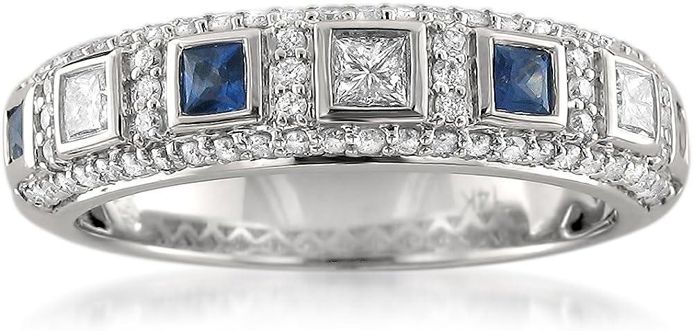 14k White Gold Princess-cut Diamond & Blue Sapphire Bridal Wedding Band Ring (3/4 cttw, I-J, I1-I2) | Real Diamond Wedding Band For Women | Gift Box Included