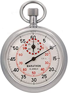 MARATHON ST211003 Stopwatch Single Action Mechanical Windup Analog Stop Watch. Color- Silver