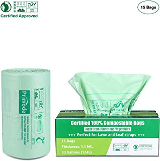 Primode Compostable Bags 33 Gallon, Lawn And Leaf Extra Large Trash Bags, 100% ASTMD6400 Certified Biodegradable Compost Bags, Certificated By US BPI And European VINCETTE, Extra Thick 1.1 Mil (15)