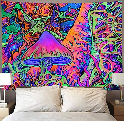 Brccee AC Trippy Smoke Mushrooms Wall Tapestry Hippie Art Tapestry Wall Hanging Home Decor Extra Large tablecloths 60x80 inches for Bedroom Living Room Dorm Room