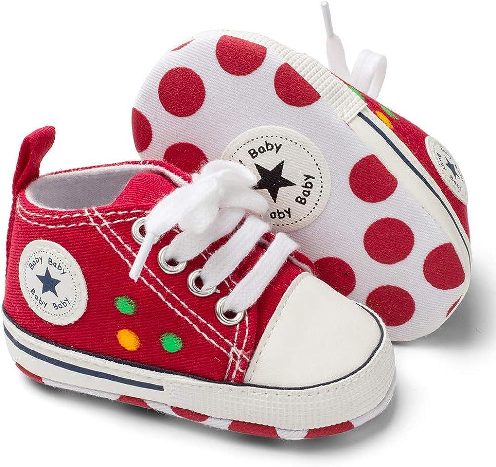 Baby Girls Boys Canvas Shoes Infant Soft Anti-Slip Sole Newborn First Walkers Star High Top Unisex Toddler Denim Sneaker (A01-Graffiti Red, 0-6 Months)