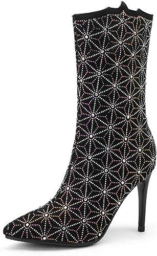 2018 Hiver Nouvelles Bottes givrées Hiver Stiletto a souligné Strass Strass Chaussures à Talons Hauts d'hiver Sexy Simple avec la Mode marée Hauteur du Talon 9.5cm   8.0cm  branché