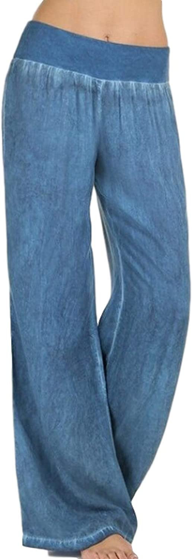 Katenyl Women's Casual Pants Thin High Waist Large Size Wide Leg Pants Elastic Waist