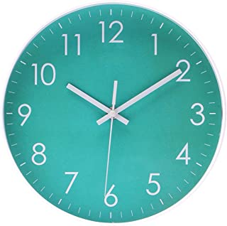 Epy Huts Modern Simple Wall Clock Indoor Non-Ticking Silent Sweep Movement Wall Clock for Office,Bathroom,Livingroom Decorative 10 Inch Teal