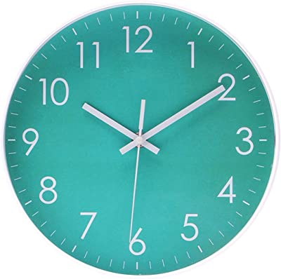 Modern Simple Wall Clock Indoor Non-Ticking Silent Sweep Movement Wall Clock for Office, Bathroom, Living Room Decorative 10 Inch Teal