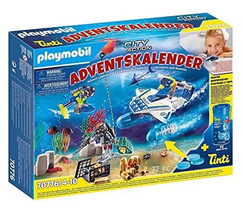 PLAYMOBIL Adventskalender 70776 Badespaß Polizeitaucheinsatz inklusive Unterwasserscooter mit Motor und Tinti Badefarbe, 77-teilig, Ab 4 Jahren