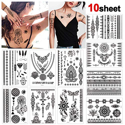 Konsait Tätowierung Wasserdicht schwarzer Spitze Mehndi temporäre Tattoo Aufkleber klebe tattoo Fake arm Tattoos für Frauen Jugendliche Mädchen Body Art