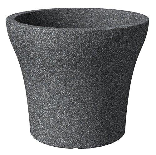 Scheurich No1 Stone, Pflanzgefäß aus Kunststoff, Schwarz-Granit, 60 cm Durchmesser, 50 cm hoch, 79 l Vol.