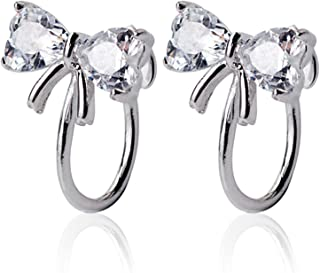 OwMell 925 Sterling Silver Cubic Zirconia CZ Clip On Earrings U-Shaped for Non-Pierced Ears
