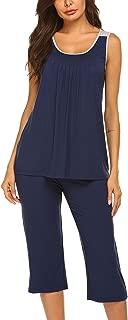 Womens Pajama Sets Capri Pants with Tank Tops Cotton Sleepwear Ladies Sleep Sets
