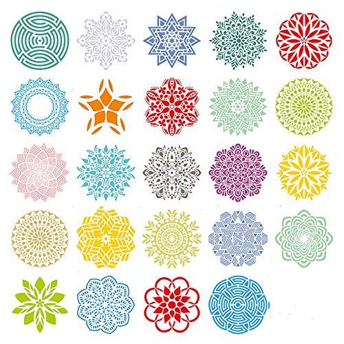 Plantillas de Mandala 24 piezas Plantillas diseño de Mandala 13 * 13cm Plástico Reutilizable Plantilla de Pintura para Pintar Scrapbook Arte De Pared