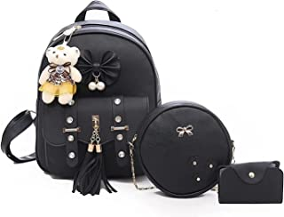Yk Exports® Fashion Girls 3-PCS Fashion Cute Stylish Leather Backpack & Sling Bag Set for Women, School & College Girls/Le...