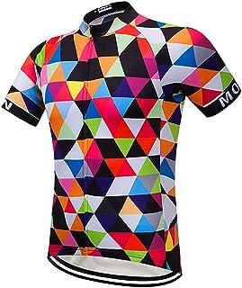 Moxilyn Men's Short Sleeve Cycling Jersey Mountain Bike Shirts MTB Tops Zipper Pockets Reflective