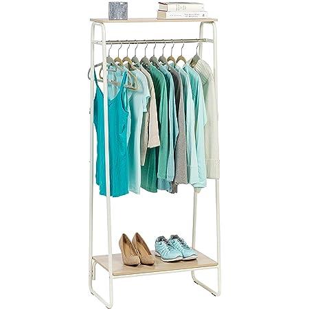 Iris Ohyama - Portant penderie à vêtements / Porte-manteaux avec 2 étagères en bois MDF et métal - Garment Rack PI-B2 - Chêne clair et blanc, 64 x 40 x 151.2 cm