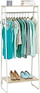 Iris Ohyama - Portant penderie à vêtements / Porte-manteaux avec 2 étagères en bois MDF et métal - Garment Rack PI-B2 - Ch...