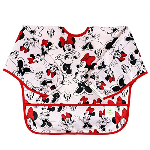 Bumkins Disney Minnie Mouse Sleeved Bib / Baby Bib / Toddler Bib / Smock, Waterproof, Washable, Stain and Odor Resistant , 6-24 Months - Classic