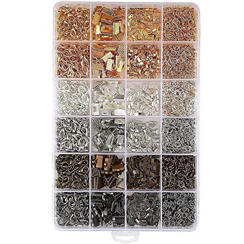 2460 Piezas Kit Hacer Bisutería - Anillas de Engarce x1500, Terminales Plegables...