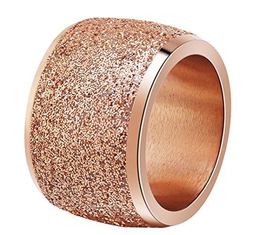 Onefeart Edelstahl Ring für Frauen Mädchen Schrubben Breit Entwurf Hochzeitsband Roségold Größe 54 (17.2)