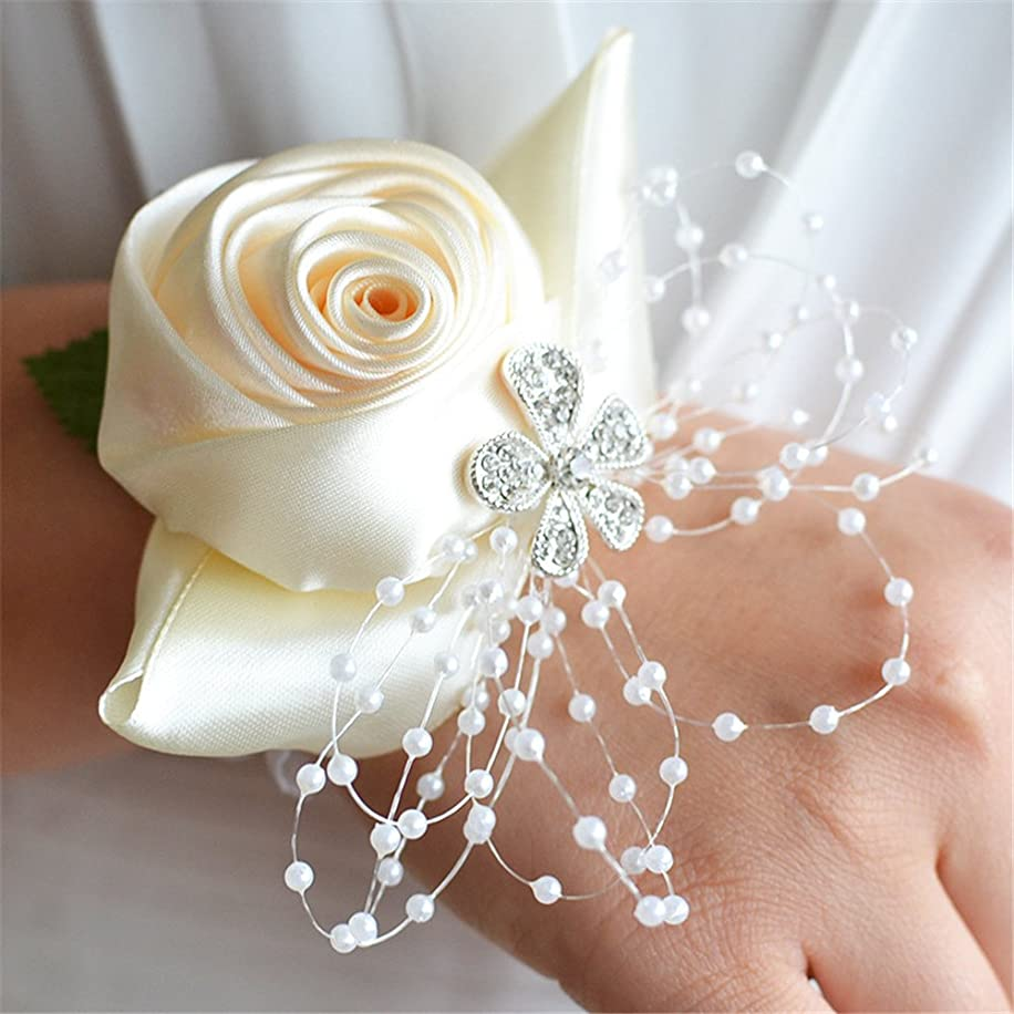 USIX 2pc Pack-Handmade Satin Rose Wrist Corsage With Elastic Lace Wristband for Girl Bridesmaid Wedding Wrist Corsage Party Prom Flower Corsage Hand Flower (Ivory)