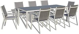 UrbanFurnishing.net - 9 Piece Modern Outdoor Patio Dining Set - White/Gray