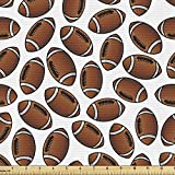 Lunarable Sports Fabric by The Yard, American Football Rugby Balls Cartoon Pattern Professional Sportsman Athleticism, Decorative Fabric for Upholstery and Home Accents, 1 Yard, White Brown