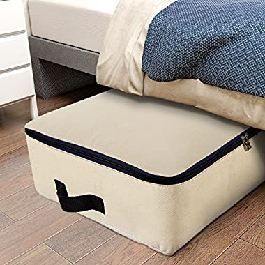 Lifewit Cotton Canvas 100L Large Storage Bags Foldable Underbed Storage Bag for Comforters, Blanket, Bedding, Duvet