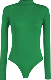 Rimi Hanger Womens Polo Turtle Neck Leotard Bodysuit Ladies Long Sleeve  Stretchy Leotard Top S  511238532