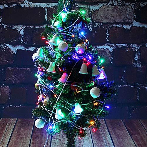 Semiter Cadena de Luces LED, 5m 50LED Luces de Cadena de árbol, para Bodas, Fiestas de cumpleaños, techos, Ceremonias de Navidad, Puertas, Pisos(Color)
