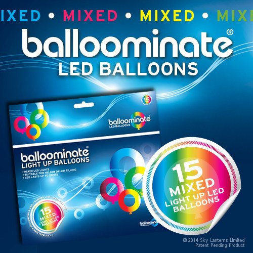 Balloominate Leuchtballons 15er-Set BALLOMINATE Multi mit LEDs …