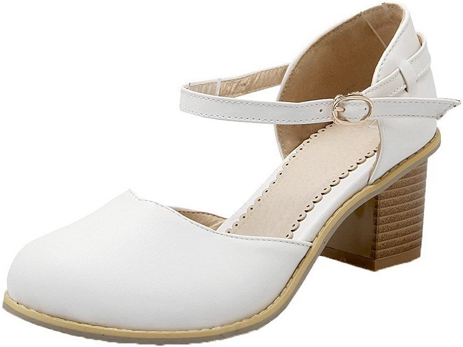 AmoonyFashion Women's Round Closed Toe Buckle Court shoes