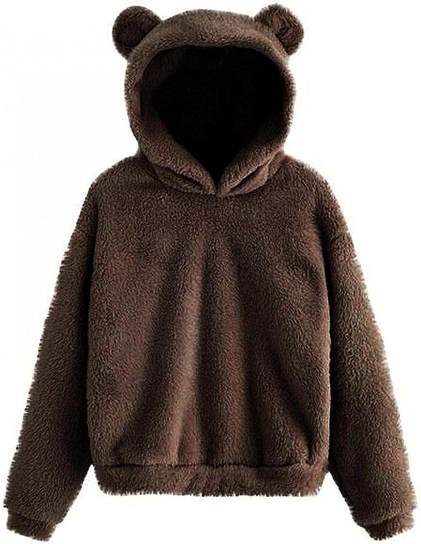 Cute Teddy Bear Fleece Pullover Hoodie for Womens Teens Girls Plus Size Casual Long Sleeve Hooded Sweatshirt Crop Tops
