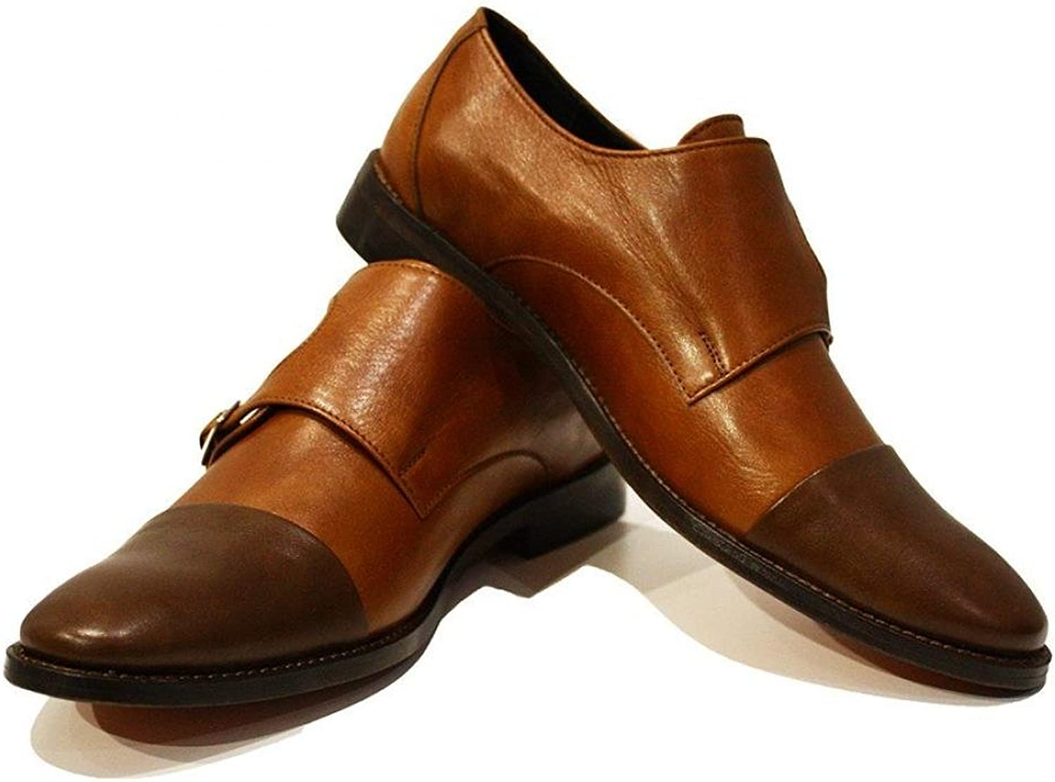 Peppeshoes Modello Tito - Handmade Italian Leather Mens color Brown Monk shoes Dress Oxfords - Cowhide Smooth Leather - Buckle