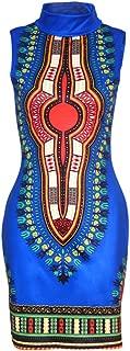 Women's Traditional African Print Dashiki Bodycon Sleeveless High Collar Dress