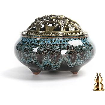 Guwheat Porcelain Incense Holder Burner (Stick/Cone/ Coil Incense) Ceramic Ash Catcher Tray Bowl with Brass Calabash Incense Stick Holder (Blue Fambe)