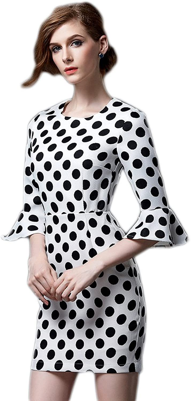 WintCO Women Dresses Polka Dot Half Flare Sleeve Slim Waist Dress