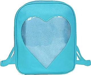 Abuyall Women Candy Backpacks Transparent Heart Pu Leather Beach School Bag