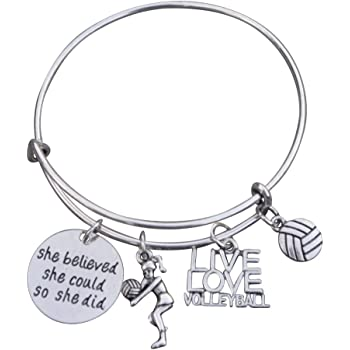 Sportybella Volleyball Interchangeable Snap Charm Bracelet Beaded Volleyball Jewelry for Volleyball Players and Teams