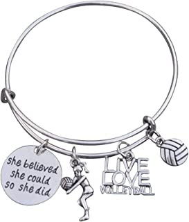 Volleyball Bracelet- Girls Volleyball Jewelry - Volleyball Charm Bangle - Perfect Volleyball Gifts for Players