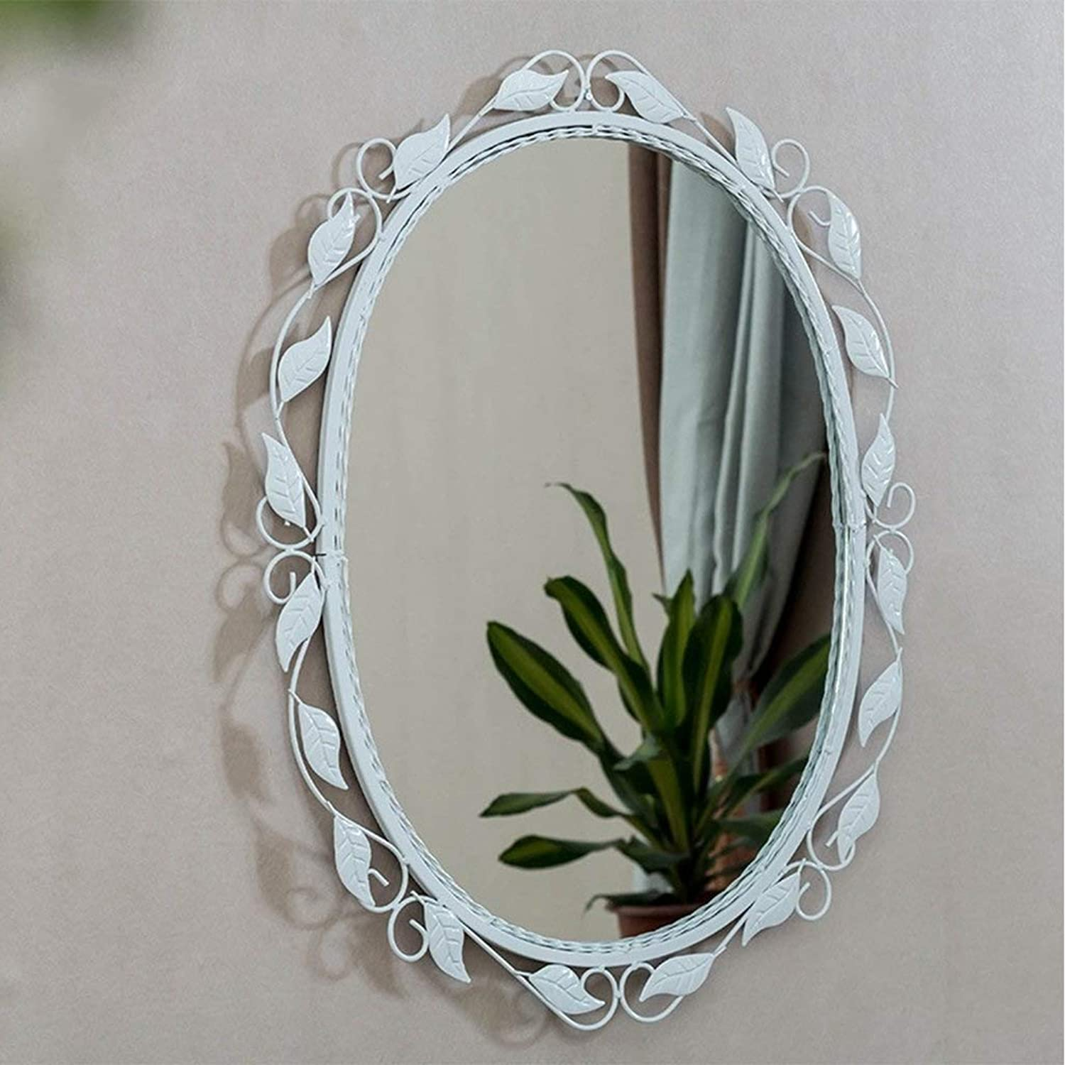 XIUXIU Mirror American Retro Old Wrought Iron Decorative Mirror Oval Simple Wall Hanging Vanity Mirror (color   White, Size   45cm60cm)