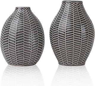 TERESA'S COLLECTIONS 14cm&15cm Ensemble de 2 Petits Vases à Fleurs en Céramique,Ensemble de 2 Gris écoratif Moderne Fait M...