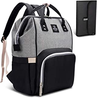 Pipi bear Diaper Bag Travel Backpack Large Capacity Tote Shoulder Nappy Bag Organizer for Baby Care with Insulated Pockets,Waterproof Fabric (Gray Black)